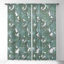 Monstera (Jungle) - Teal x White Sheer Curtain