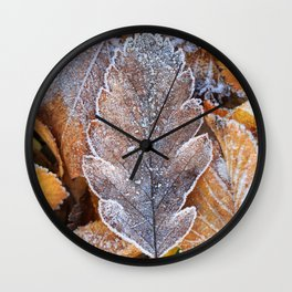 Fallen leaf covered in winter frost Wall Clock