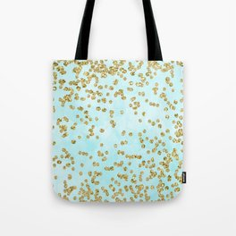 Sparkling gold glitter confetti on aqua ocean blue watercolor background - Luxury pattern Tote Bag
