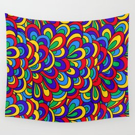 1960's Hippie Psychedelic Retro Pattern in Blue, Green, Yellow Wall Tapestry