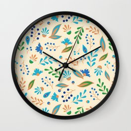 Folk Leaves and Flowers Wall Clock