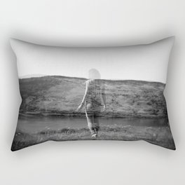 Ghost Girl on the Cliff's Edge - Black and White Film Double Exposure Rectangular Pillow