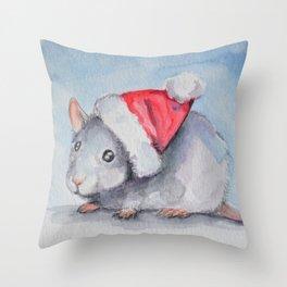 Rat Claus Throw Pillow