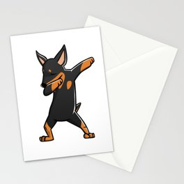 Funny Miniature Pinscher Dabbing Stationery Cards