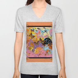 Peach Colored Monarch  Butterflies Carnival Fantasy Art Unisex V-Neck