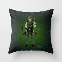green arrow Throw Pillows featuring Green Arrow by The Vector Studio