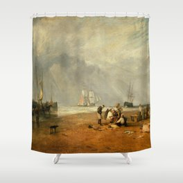 "J.M.W. Turner ""The Fish Market at Hastings Beach"" Shower Curtain"