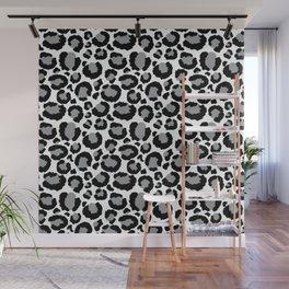 White Black & Light Gray Leopard Print Wall Mural
