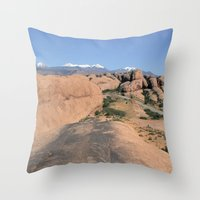 utah Throw Pillows featuring Moab Utah by BACK to THE ROOTS