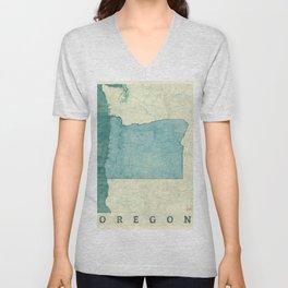 Oregon State Map Blue Vintage Unisex V-Neck