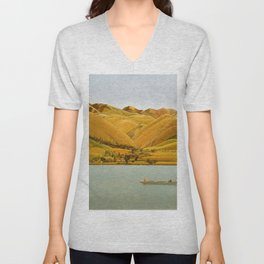 Edge of Abruzzi, Italy; boat with three people on lake by Winifred Knights Unisex V-Neck