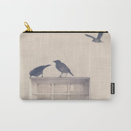 Let me be a bird in your window - vintage retro, beige cream, urban, black and white photography Carry-All Pouch