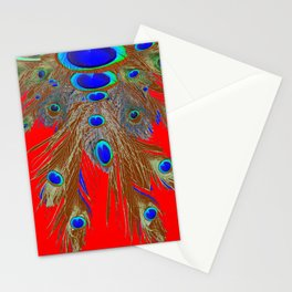 DECORATIVE  RED GREEN BLUE PEACOCK FEATHER JEWELS Stationery Cards