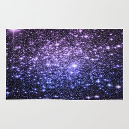 Galaxy Sparkle Stars Purple Periwinkle Blue Rug