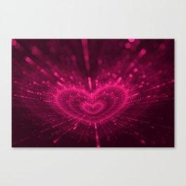 Purple Love Heart, Happy Valentine's Day Pattern Canvas Print