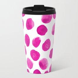 Lila - pink polka dots painted abstract minimal modern office dorm college decor Travel Mug
