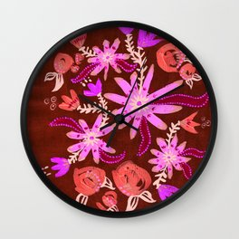 Apricot Nocturne Rose Wall Clock