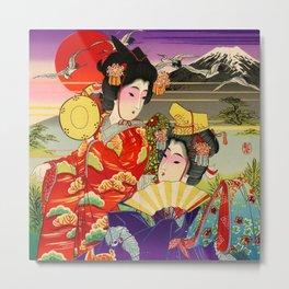 Geishas with Mt. Fuji Metal Print