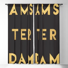 AMSTERDAM NETHERLANDS GOLD CITY TYPOGRAPHY Blackout Curtain