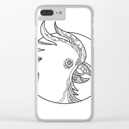 Cockatoo Head Circle Doodle Art Clear iPhone Case