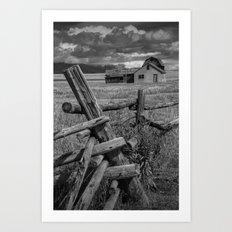 Grand Teton National Park Moulton Farm on Mormon Row in Black and White Art Print