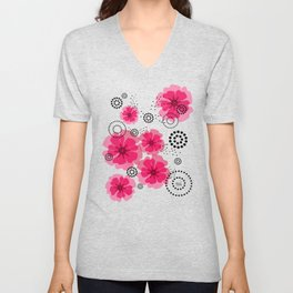PEPPER POPPIES | fuschia Unisex V-Neck