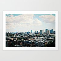 cityscape Art Prints featuring Cityscape by Jessica D. Vega