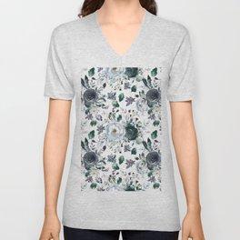 Botanical navy blue gray green watercolor peonies motif Unisex V-Neck