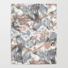 Marble Mist Terra Cotta Blue Poster