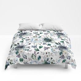 Botanical navy blue gray green watercolor peonies motif Comforters