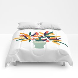 Potted Colorful Plant Comforters