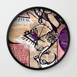 Abstract Flower Collage Wall Clock