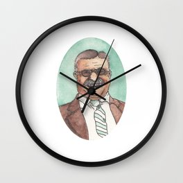 Historical Moustache Teddy Roosevelt Wall Clock