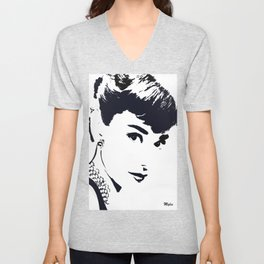 Audrey Simply Beautiful in Black and white Unisex V-Neck