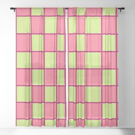 Rose Pink & Pale Green Chex  Sheer Curtain