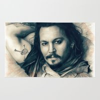 johnny depp Area & Throw Rugs featuring Johnny Depp II. by Thubakabra
