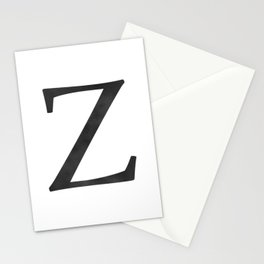 Letter Z Initial Monogram Black and White Stationery Cards