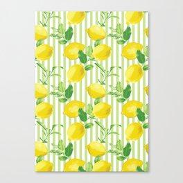 The Fresh Striped Lemon Vector Seamless Pattern Canvas Print