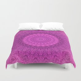 Sunflower Peacock Feather Bohemian Pattern \\ Aesthetic Vintage \\  Bright Fuchsia Pink Color Scheme Duvet Cover