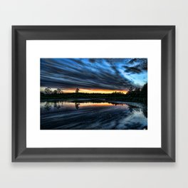 Sunset over the pond Framed Art Print
