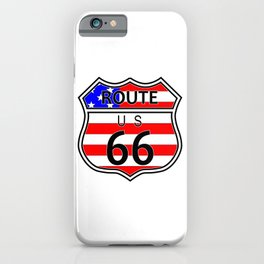Route 66 Highway Sign With Flag iPhone Case