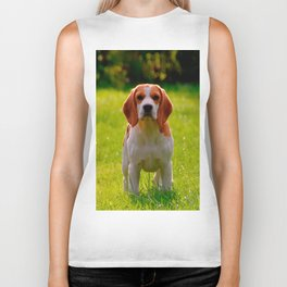 beagle puppy on guard Biker Tank