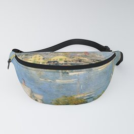Classical Masterpiece 'Gloucester Harbor Landscape' by Frederick Childe Hassam Fanny Pack