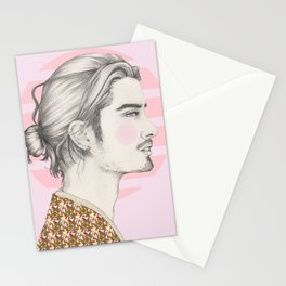 Long hair guy Stationery Cards