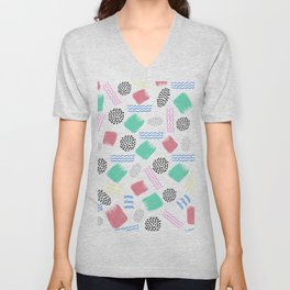 Geometrical pink teal black Memphis 80's pattern Unisex V-Neck