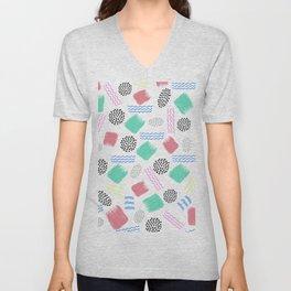 Geometrical pink teal black Memphis 80's pattern Unisex V-Neck