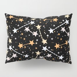 Night sky with gold silver stars Pillow Sham