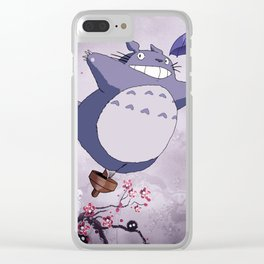 Fantastic Cherry Blossoms Sprites Kodama Landscape Artwork Clear iPhone Case