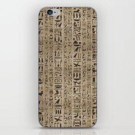 Egyptian hieroglyphs on wooden texture iPhone Skin