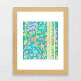 Bright Cherry Blossom Stripe Framed Art Print